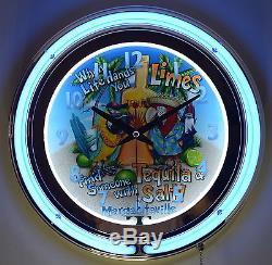 Tequila, Limes & Salt Margaritaville 15 Blue Double Neon Beer Clock Bar Decor
