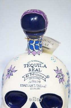 Tequila Real Penjamo Artesanal Anejo KAH Skull Bottle HandPainted 750ml EMPTY