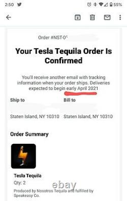 Tesla Tequila EMPTY BOTTLE + Stand + Box LIMITED RARE SOLD OUT CONFIRMED ORDER