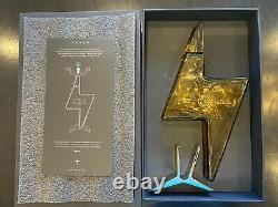 Tesla Tequila Limited Edition Lightning Bottle, Lid, Box & Stand In Hand Empty