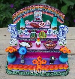 Traditional Day of the Dead Altar Dog Mole Tequila Handmade Mexican Folk Art