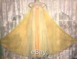 VTG M L Tequila Sunrise RAINBOW PLEATED SHEER CHIFFON Nightgown Negligee Gown