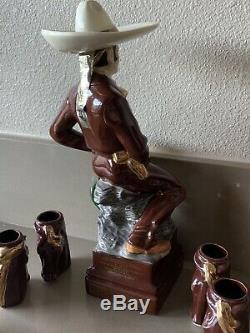 VTG RARE Gran Reserva EL CHARRO Tequila BOTTLE & 6 Gold Ceramic Shot Glasses