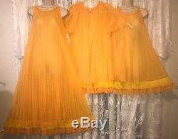 VTG TEQUILA SUNRISE PLEATED SHEER CHIFFON Peignoir Robe Nightgown GOWN CHEVETTE
