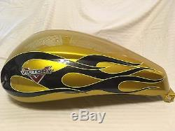 Victory Cross Country 2014 Fuel Tank Tequila Gold Flames Gas Petrol Perfect Cond