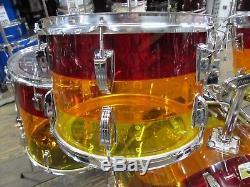 Vintage 1970's 4 Piece Ludwig Tequila Sunrise Vistalite Drum Kit