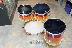 Vintage 1970's Ludwig 4pc Vistalite Drum Kit Shell Pack Tequila Sunrise