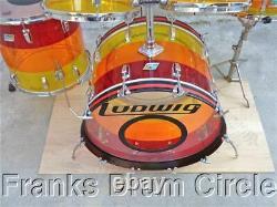 Vintage 1970's Ludwig 5 Piece Vistalite Tequila Sunrise Drum Set Kit FANTASTIC