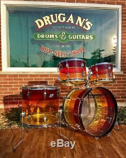 Vintage 1970s Ludwig Tequila Sunrise Vistalite Rock Machine 24/13/14/18 Drum Set