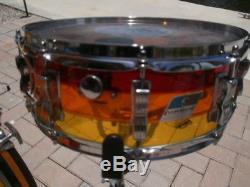 Vintage 1978 7 Piece Ludwig Tequila Sunrise Vistalite Drum Set, Snare + 2 ex Toms