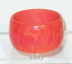 Vintage Bakelite Bracelet Bangle pink tequila sunrise marble extra wide shape
