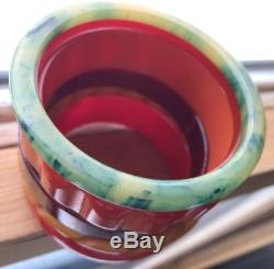 Vintage Carved Daisy Oxblood Tequila Blue Ink Bakelite Bracelet Bangle Set