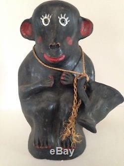 Vintage Mexican Folk Art Chango Monkey Mezcal Tequila Bottle