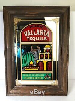 Vintage Puerto Vallarta Tequila Framed Mirror Man Cave Bar Sign Art