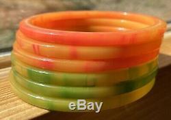 Vintage Sunny Tequila Sunrise Green Apple Bakelite Tested Bangle Bracelet Set
