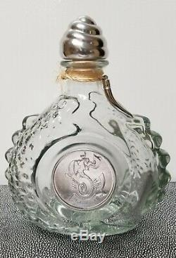 Vintage TEQUILA LEY. 925 Empty Bottle Dragon Design Silver Colored Metal Stopper