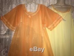 Vtg Tequila Sunrise CHIFFON Peignoir Robe Nightgown Negligee Gown Set XL ++